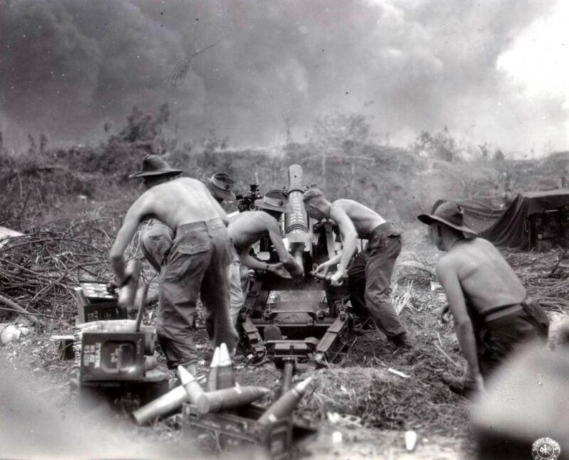 WWII B&W Photo Australian Artillery Borneo July 1945 WW2 World War Two  / 1254