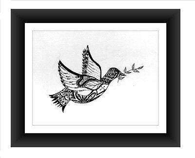 "Pen and Ink Print 8"" x 10"", Home Decor Artwork, Zentangle Free Bird"