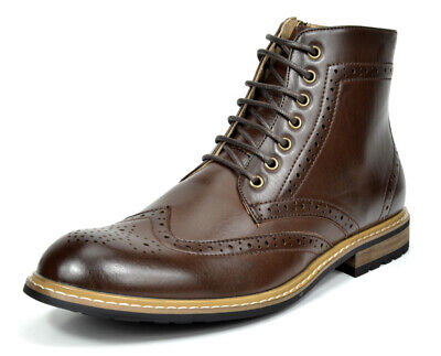 Bruno Marc Mens Lace Up Motorcycle Leather Chukka Boots Oxford Dress Ankle Boots Fall Lace Boots