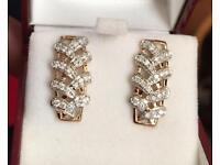 9k yellow gold 0.53ct diamonds earrings