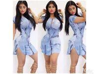 Women's Fashion Short Sleeve Digital Printing Dress Slim Casual Dress, M