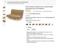 ONE DOUBLE FUTONS Quality linen look mattresses covers solid slatted wood bases