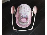 6 SPEED & MUSIC BRIGHT STARTS COMFORT & HARMONY BABY SWING IN PINK