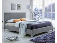Grey upholstered quilted double bed. Brand New