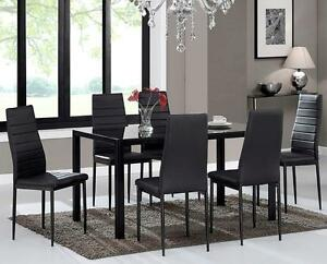 LORD SELKIRK FURNITURE   7PC Contra Table Set In White Or Black With  Tempered Glass U0026