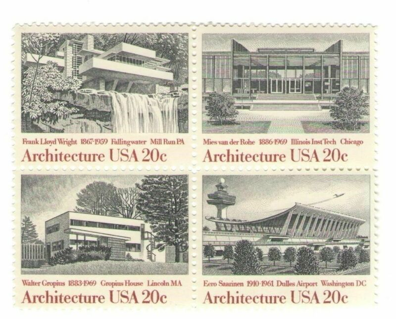 Frank Lloyd Wright Falling Water Architecture 35 Yr Old Mint Stamp Block fm 1982