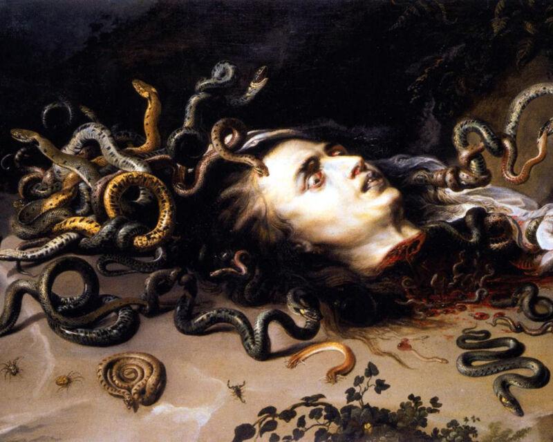 Greek Mythology Head Of Medusa Rubens Painting Real Canvas Art Print New