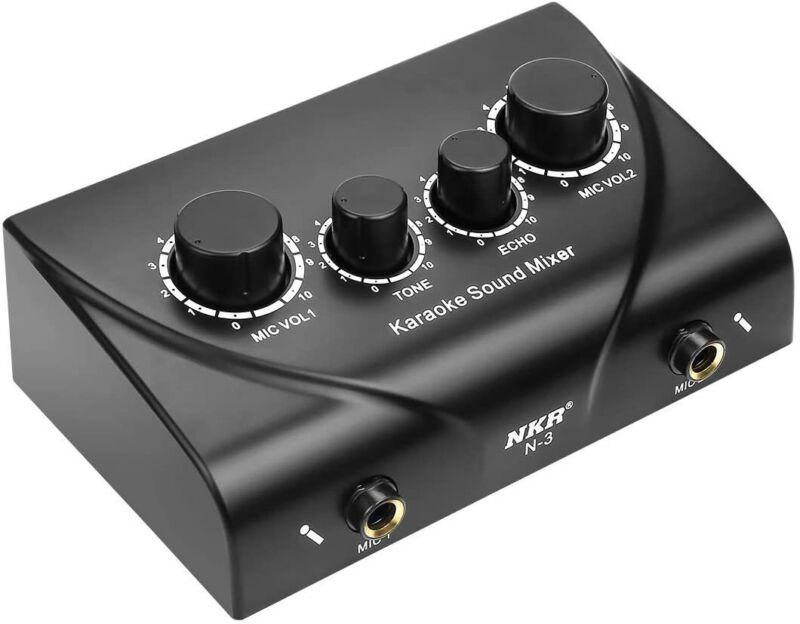 Portable Karaoke Mixer Digital Audio Sound Echo Mixer System 2 Mic Inputs