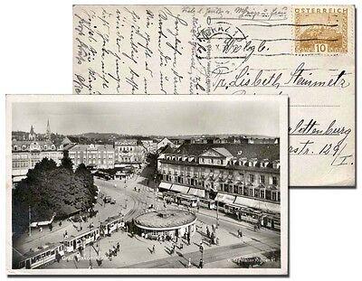 Graz - Jakominiplatz, s/w Foto-Ansichtskarte von 1931
