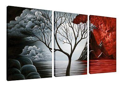 3 Panels Wall Decor Canvas Print Home Art Framed Abstract Landscape Painting New