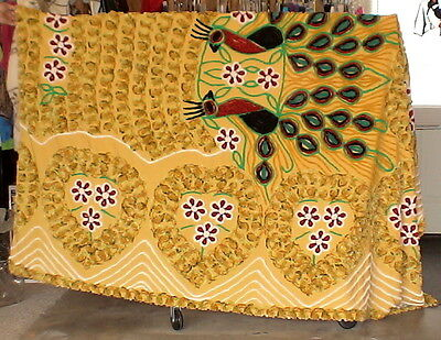 Gold Vintage Chenille Bedspread Double Peacock Beautiful 92 X 104 inches