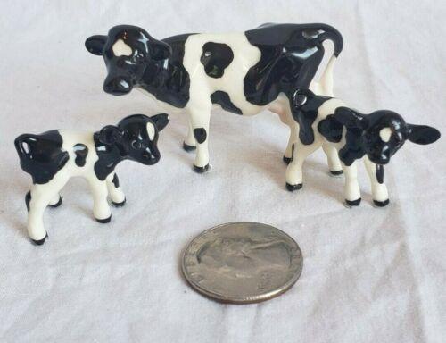 Lot 3 Miniature Hagen Renaker Farm Holstein Cow & 2 Baby Calf Figurine