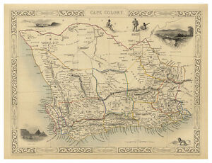 South-Africa-Cape-Colony-illustrated-map-Tallis-ca-1851
