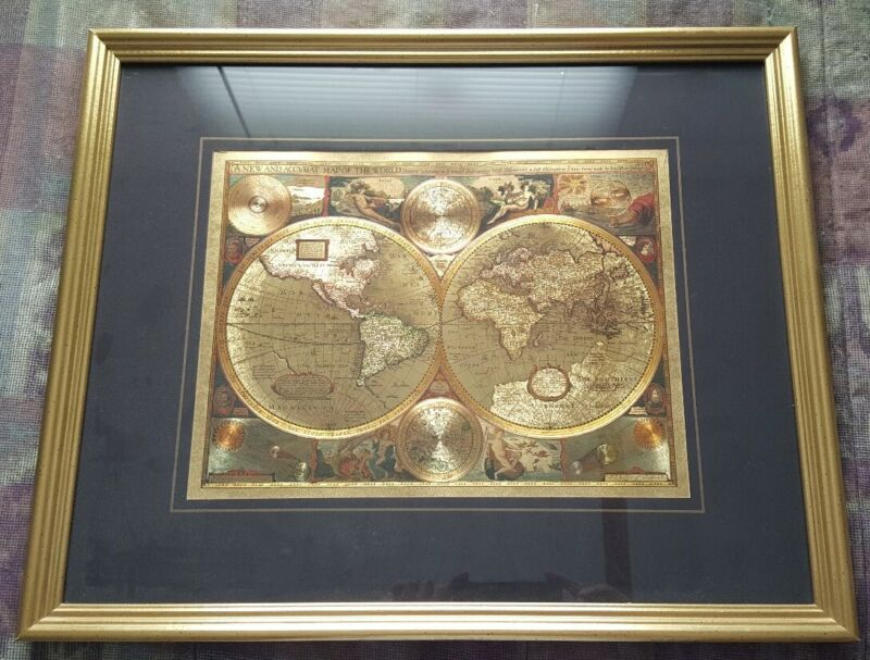 GOLD FOIL A NEW AND ACCVRAT MAP OF THE WORLD FRAMED PICTURE 1651*MATTED*