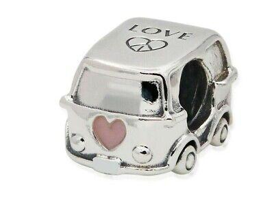 Genuine Sale Silver Camper Van  with Pink Enamel Heart Charm