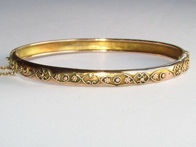Old antique Victorian solid gold bangle bracelet Birmingham hallmarks 1881-92