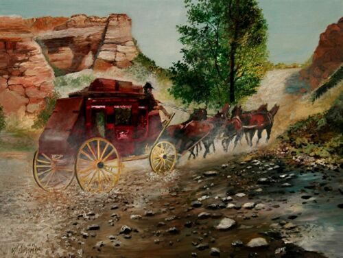 ANDRE DLUHOS Stagecoach Horses old West Southwest ORIGINAL ART Oil Painting HUGE