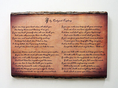 IF by RUDYARD KIPLING Wood Sign - Natural Edge Wooden Plaque