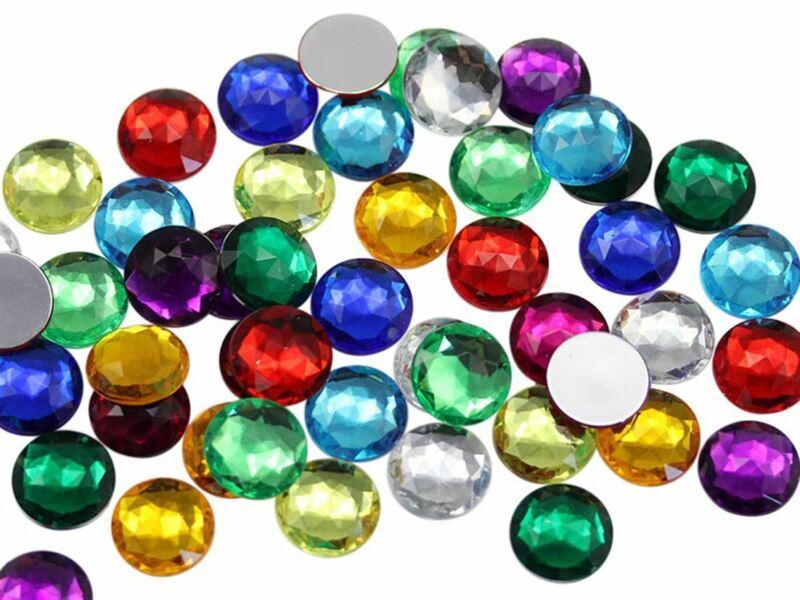 Assorted Colors Flat Back Acrylic Round Gems 4 Size Rhinestones Craft 570PCS