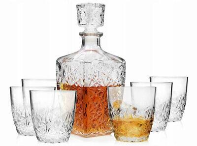 Whisky Set 1x Karaffe mit 6x Gläser Bar Decanter Whiskygläser für ein Geschenk