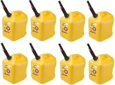 8 Midwest 8610 5 Gallon Yellow Poly Diesel Fuel Cans W Flameshield Spout
