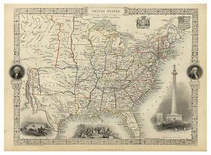 United-States-of-America-USA-illustrated-map-John-Tallis-ca-1851