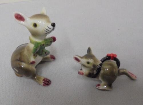 "Rats, Pair With Bows, Bone China, 2.25""-1"" Tall 1.5""-2"" Across Retro"