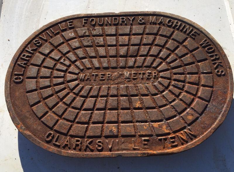 Vintage Clarksville Foundry & Machine Works Cast Iron Water Meter ( OBLONG )TENN