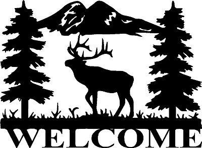 """Elk Wildlife Vinyl Decals Welcome Window or Door Stickers (15"""" x 11"""")"""