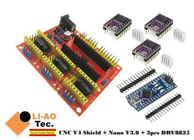 Nano V3.0 + CNC Shield V4 Expansion Board + 3pcs DRV8825 Stepper Motor Driver