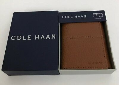 Cole Haan Mens Pebble Leather Trifold Wallet British Tan