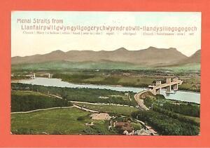 Menai Straits from Llanfairpwllgwyngyllgogerychwyrndrobwll-etc, Wales.Postcard.