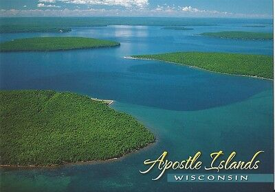 - Postcard Wisconsin Lake Superior Apostle Islands Aerial View MINT