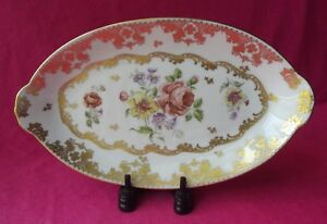 LIMOGES-PORCELAINE-DE-FRANCE-HAND-PAINTED-FLORAL-OVAL-CELERY-DISH-9-1-4