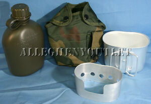 4-Pc-Military-1-QUART-CANTEEN-SET-KIT-w-1QT-Woodland-Camo-COVER-CUP-STAND-NEW