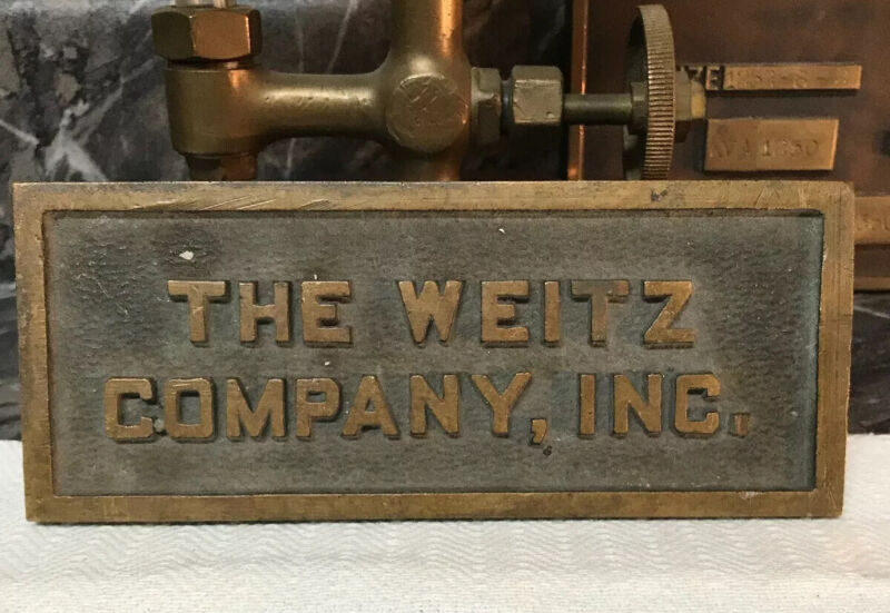 Antique Brass The Weitz Co Steam Industrial Sign Plaque Tag