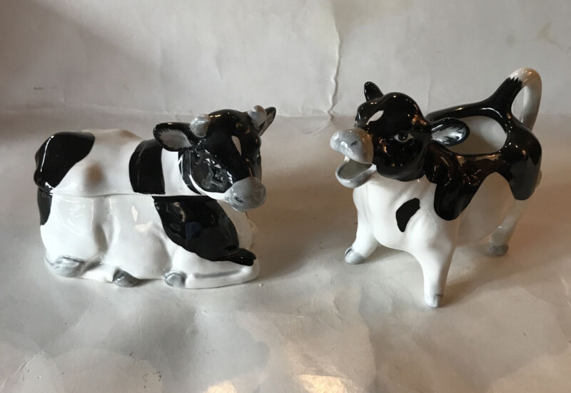 Vintage OTAGIRI Japan Hand Crafted Black & White Cow Creamer and Sugar Set