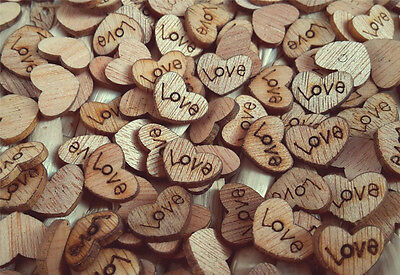 100pcs Rustic Wooden Love Heart Wedding Table Scatter Decoration Crafts DIY Xmas - Heart Decor