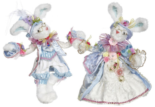 """Mark Roberts Easter Bunny: Mr & Mrs Cottontail; Item#51-05236 2 assorted 11"""""""