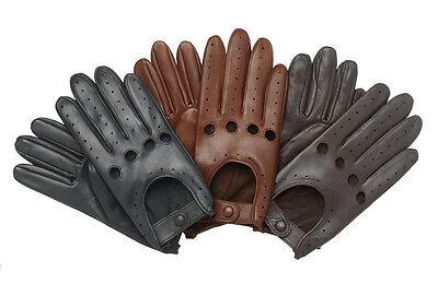 MEN'S CHAUFFEUR  REAL LAMBSKIN SHEEP NAPPA LEATHER CAR DRIVING GLOVES BLACK TAN  Black Lambskin Leather Gloves