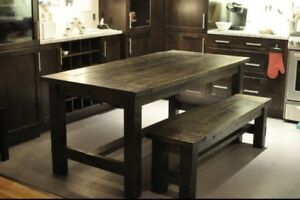 """Rustic Farmhouse Style Dining Table 36x72"""" with 58"""" Bench"""