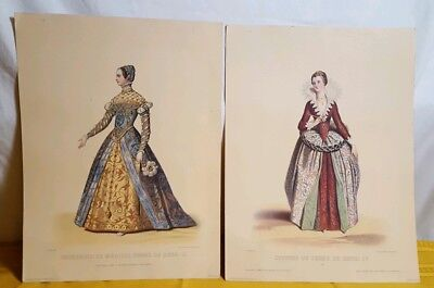Pair Antique Lithograph Fashion French 1600s Morris & Bendien NY De Henri 11, 1V