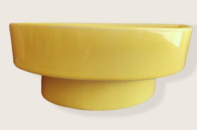 Vintage 70s Japanese Ikebana Vase Suiban Ceramic Yellow Half Circle Moon Shape