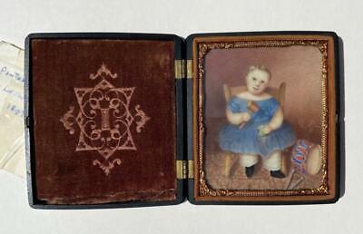 Rare Antique Union Case 1847 Girl Miniature Portrait Americana Folk Art Painting