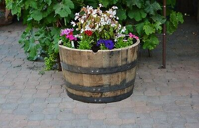 1/2  Oak barrel planter Whiskey/ Handmade for sale  Shipping to Canada