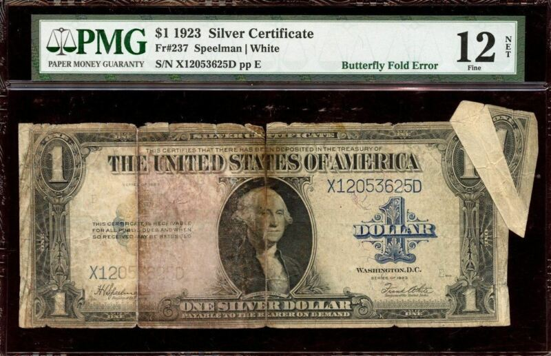 Fr. 237 - 1923  $1 Silver Certificate Butteryfly Fold Error - PMG 12 NET (X12053
