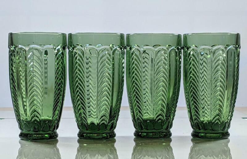 Set of 4 Vintage EAPG Florida Emerald Green Herringbone Tumblers US Glass  RARE