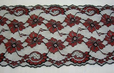 Floral Scallop - Black & Red Lace 5 1/2