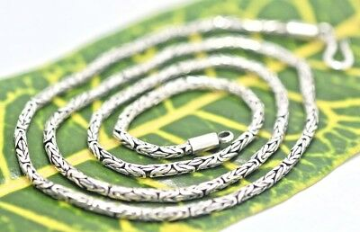 Handmade Sterling Silver .925 Bali Byzantine/Borobudur 2 mm Chain w Hook and Eye