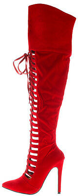 Red Suede Thigh High Lace up Pointy toe Boots Stiletto Heels Women's Shoes Vera](Red Thigh High Boots)